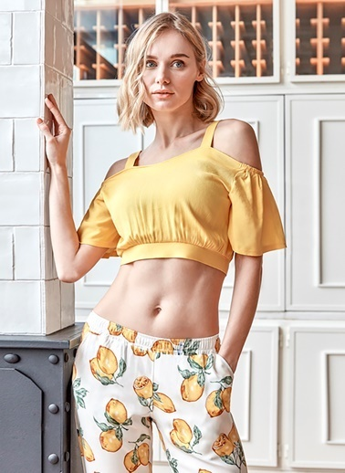 Anıl Kadın Pijama Pamuklu Limonlu Crop Top Pantolon 2'li Takım Sarı